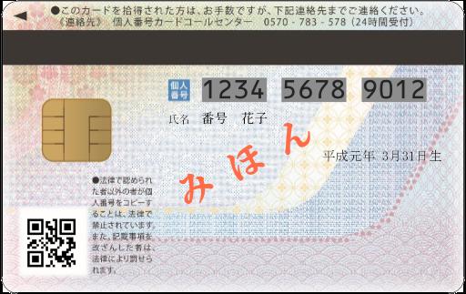 『番号カード裏』の画像