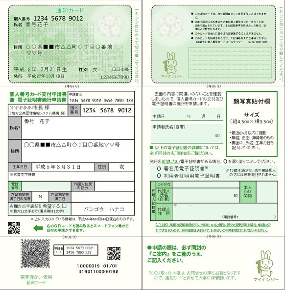 『通知カード及び個人番号カード交付申請書』の画像